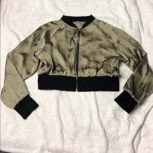 Silk cropped bomber